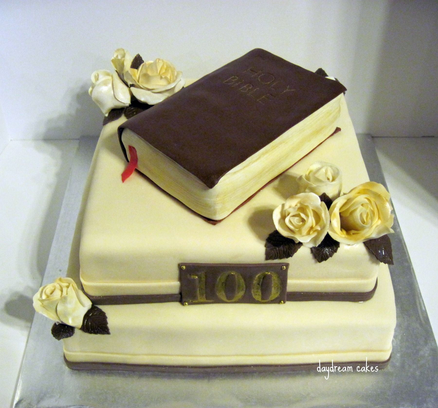 Church Anniversary - 100th Church Anniversary Celebration cake. First attempt at gumpaste/fondant roses. Inspired by meomy's beautiful Bible Anniversary Cake