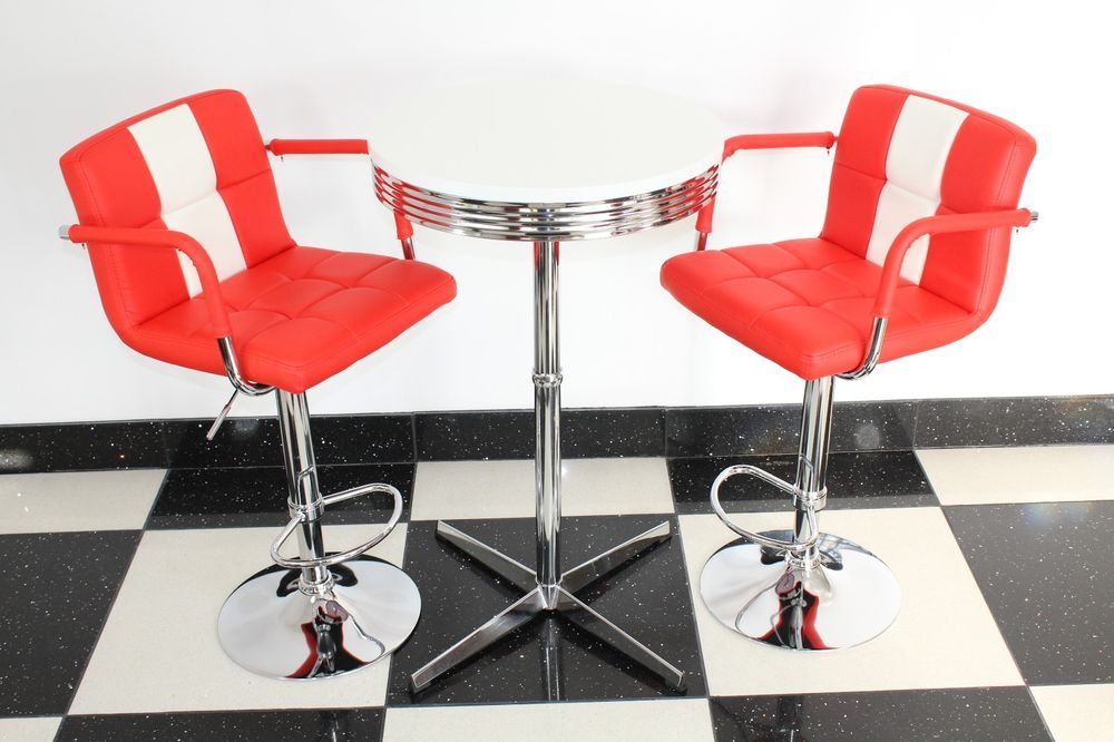 American 50s Diner Furniture Claw Base Bistro Set Table U0026 2 Red Stools With  Arms