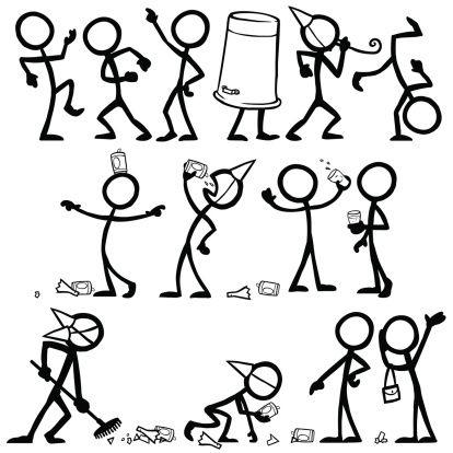 Stick Figure People Party vector art illustration
