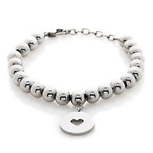 """Stately Steel Beaded 7-1/2"""" Bracelet with Heart Charm"""