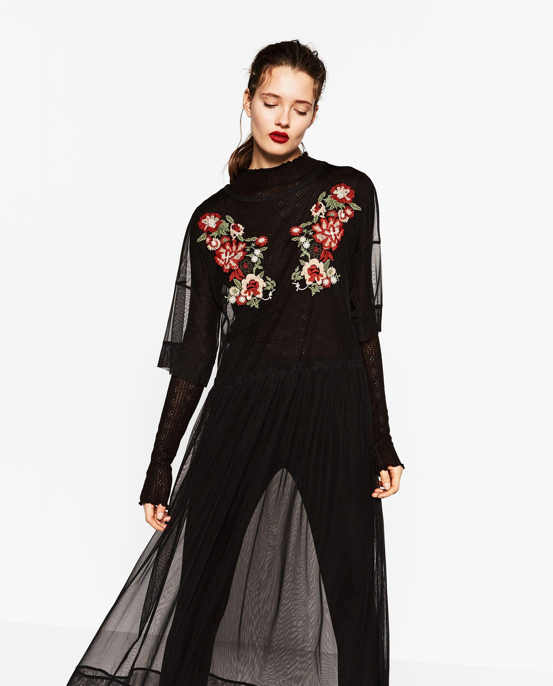 Zara Mujer Vestido Bordado Tul Elbise Moda Giyim