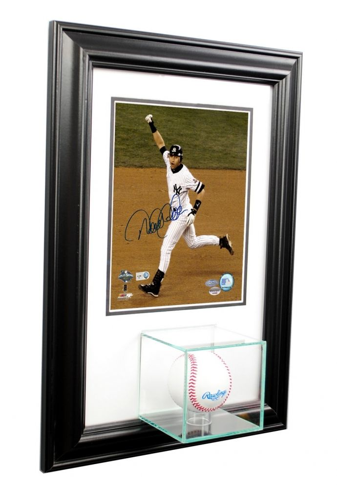 Wall Mounted Baseball With 8x10 Photo Display Case With Black Wood