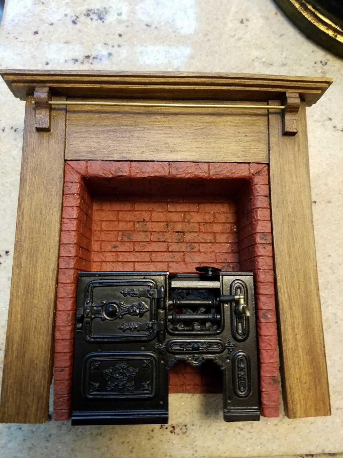 Wonderful Handmade Brick Mantle With Metal Insert For Cooking Metal Insert Is Removable With Many Movable Parts Can Be E Dollhouse Miniatures Fireplace Inserts Handmade Kitchens