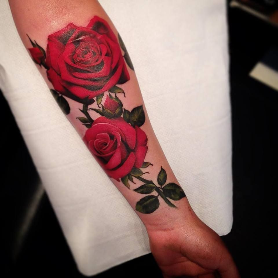 Red Rose Tattoos On Side Gregs More Feminine Side Black Heart