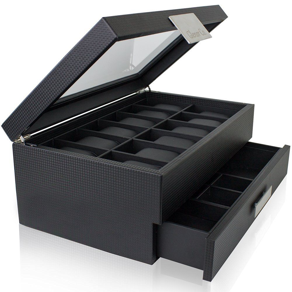 Watch Box with Valet Drawer for Men 12 Slot Luxury Watch Case