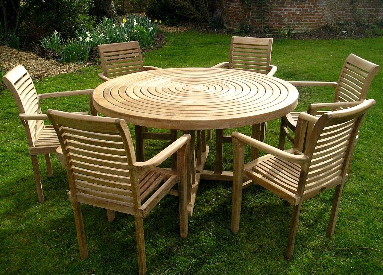 Turnworth Teak 150cm Round Ring Table Set with Lovina Stacking ...