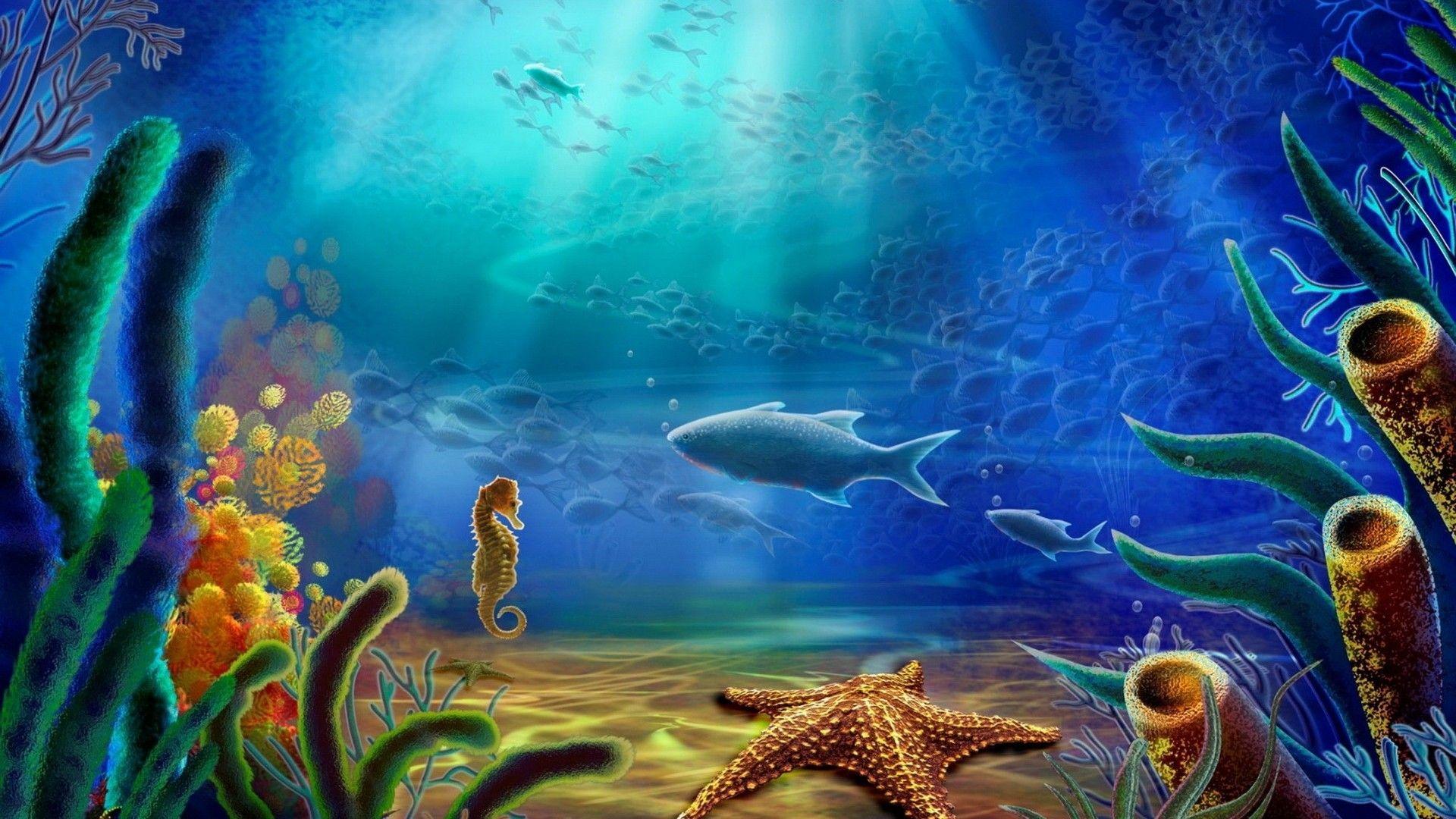 Cartoon art vector color ocean underwater wallpaper ...