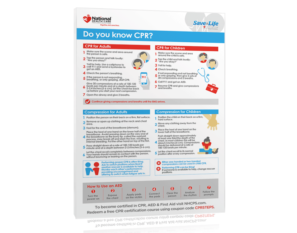 Free Cpr Steps Poster Nhcps Com Certificate Templates Baby Dedication Certificate Best Templates