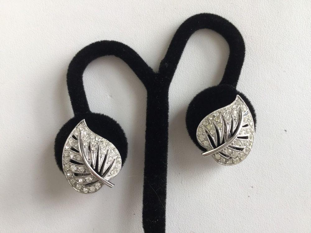 vintage ora earrings pave rhinestone rhodium plated flowers leaf