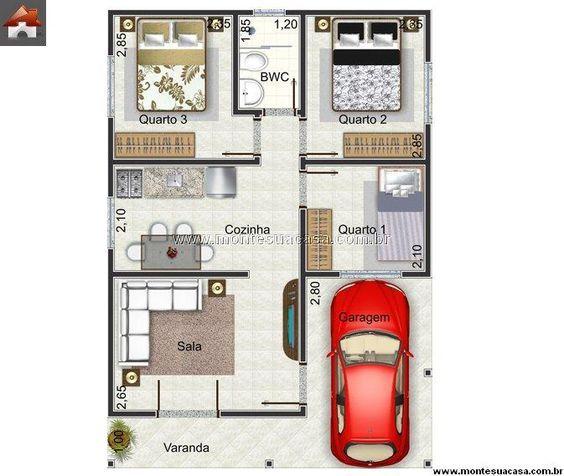 Plantas de casas até 60m2 3 modelos Casa Plantas de