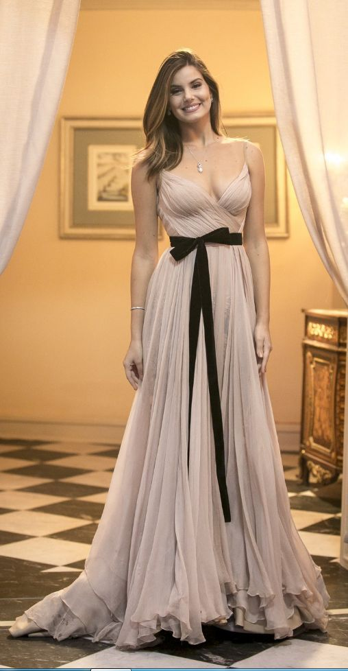 Straps V Neck Chiffon Long Prom Dress Pale Pink Formal Evening Gown ... e8687bd99
