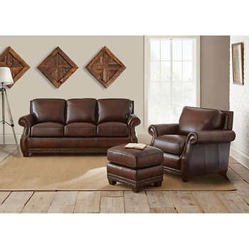 cameron park 3 piece top grain leather set family room recycled rh pinterest com