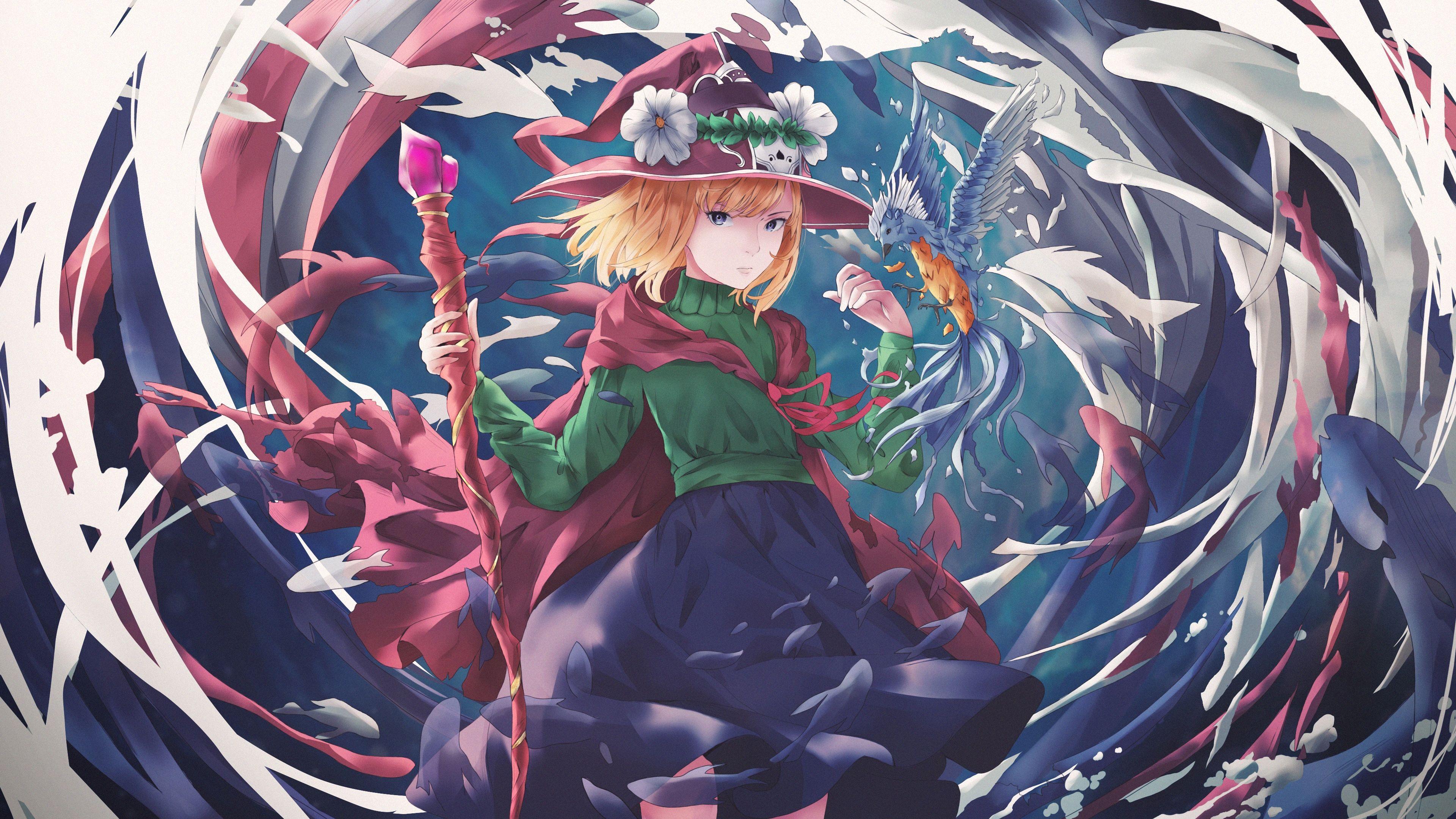 Download 3840x2160 Anime Witch Girl, Blonde, Staff, Bird