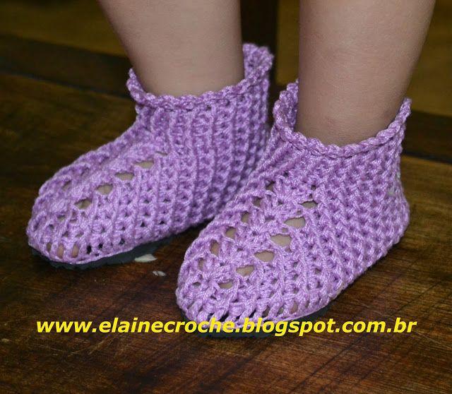 Elaine Croche - Botinha da Gatinha com Sola Eva | croche | Pinterest