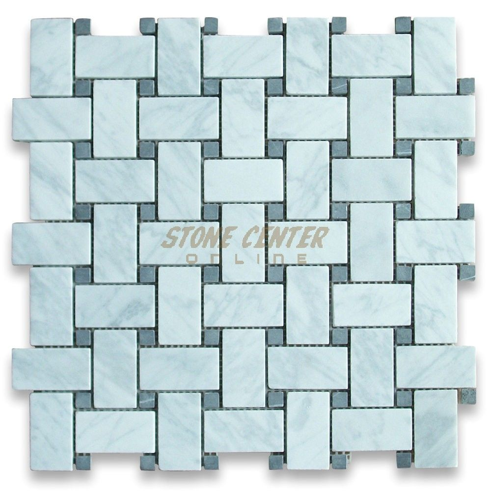 Carrara White 1x2 Basketweave Mosaic Tile W Black Dots Honed Marble From Italy Stone Mosaic Tile Mosaic Tiles Basket Weave Tile