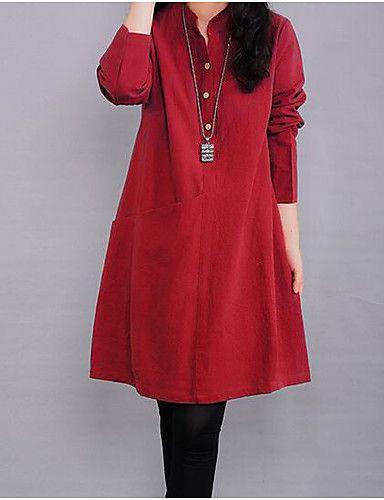 27c0c85e59 3.90  Mulheres Casual Evasê Vestido Sólido Colarinho Chinês Altura ...