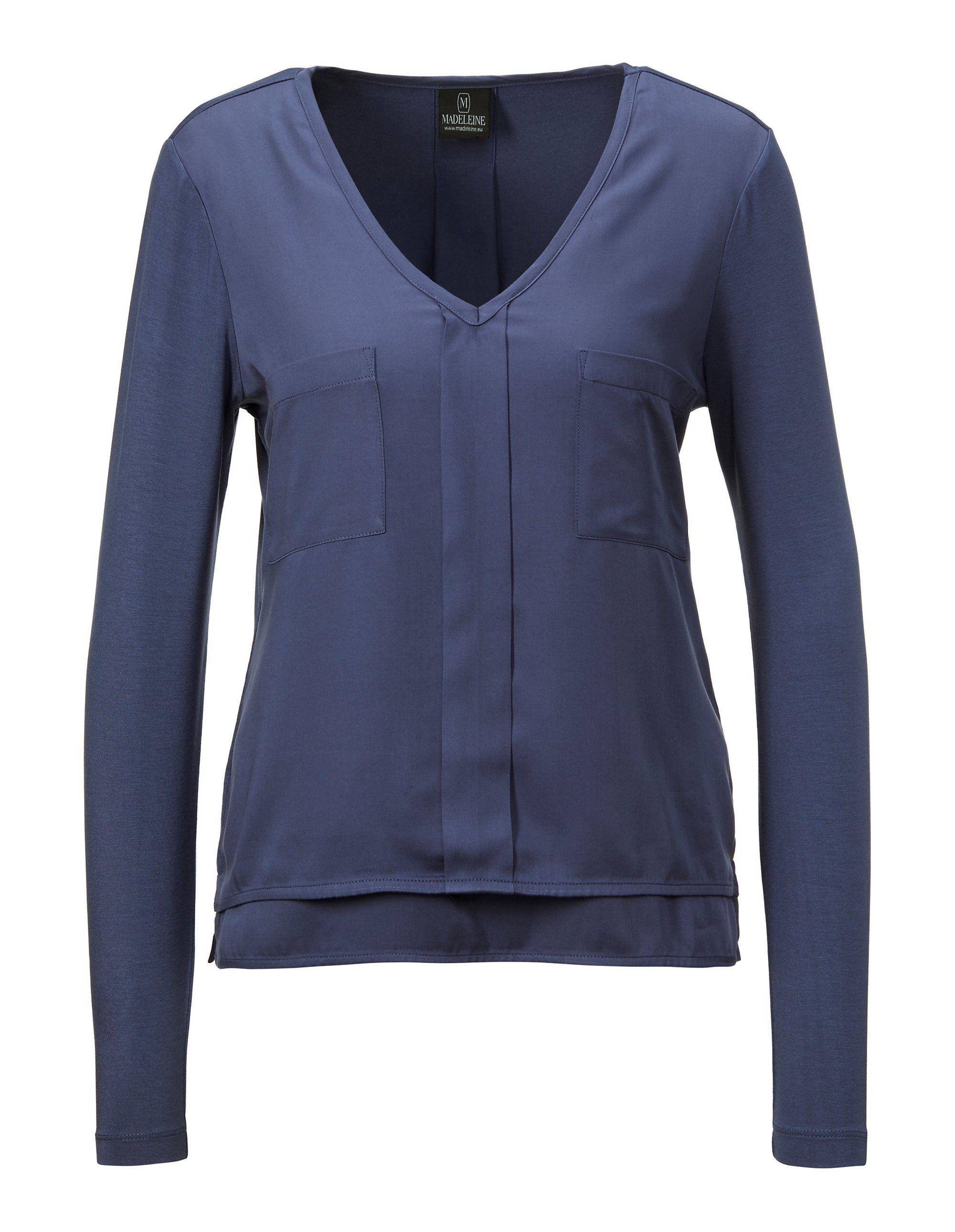Bluse mit aufgesetzten Taschen in blau MADELEINE Gr 48, indigo für Damen. Viskose. Waschbar