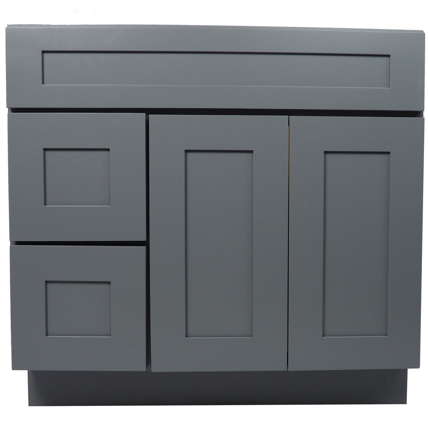 36 Inch Bathroom Vanity Cabinet In Solid Wood Shaker Gray With Soft Close  Drawers And Doors