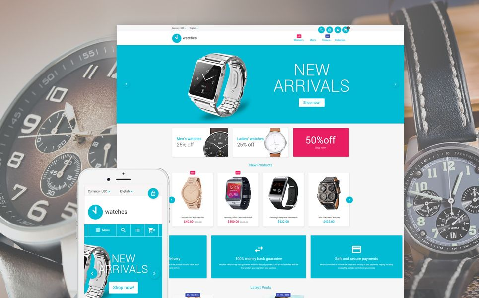 Watches Magento Theme Brand Pinterest Flat design and Template - slip template