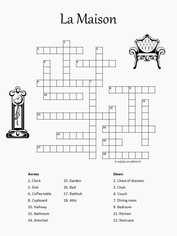 crossword puzzle for french students features the name
