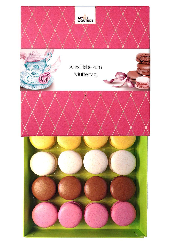 Süße Grüße zum Muttertag mit persönlichem Grußtext - Macarons €19,90 #muttertag #muttertagsgeschenk #geschenkidee