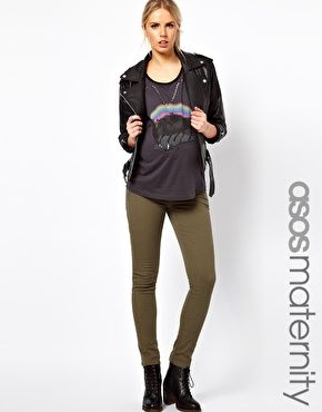 Enlarge ASOS Maternity Exclusive Elgin Jeans With Stretch Waistband in Khaki