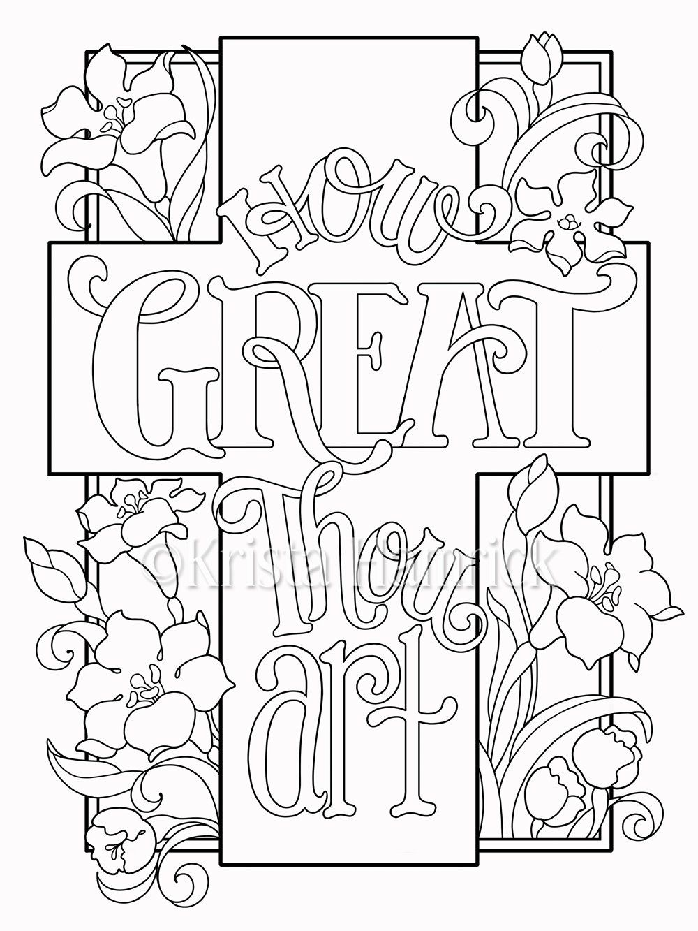 How Great Thou Art coloring page in two sizes 8.5X11