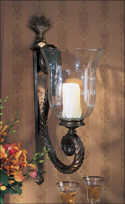 candle+wall+sconces Large Candle Sconce and Large Hurricane Sconce Home decor Pinterest ...