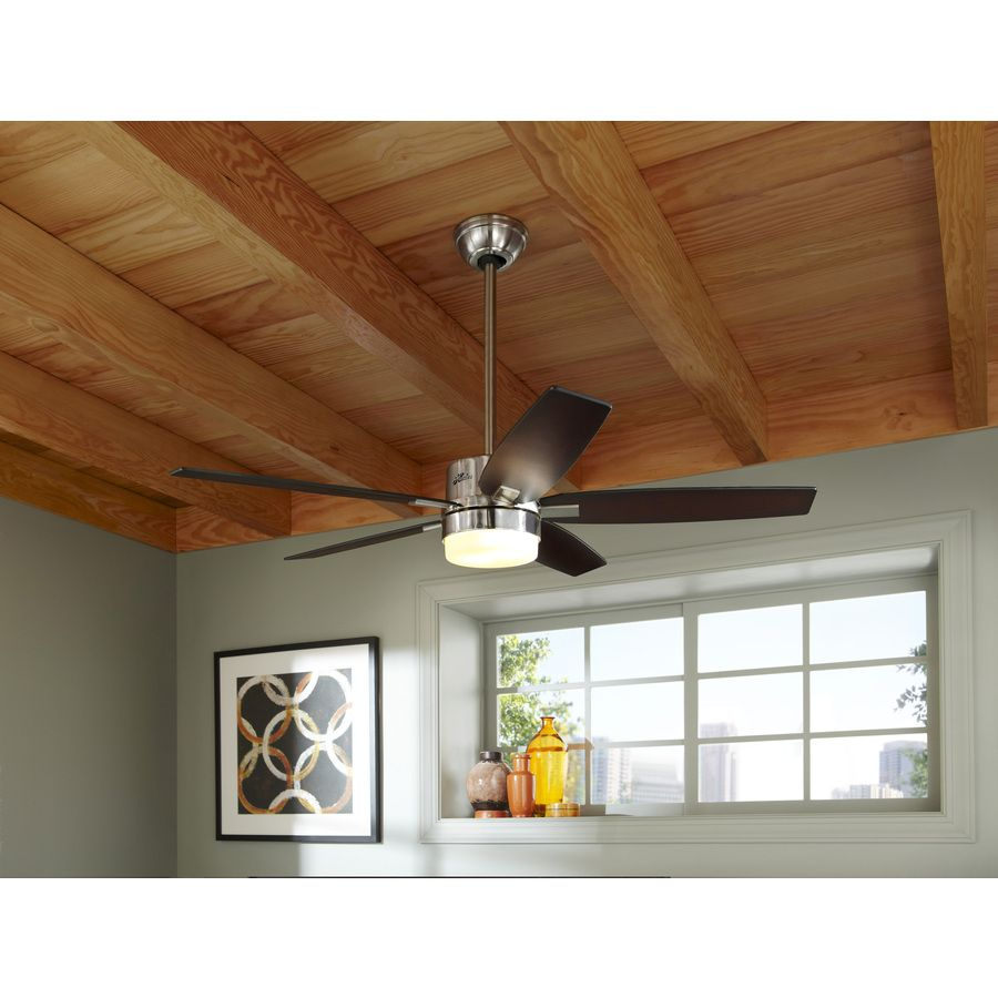 Shop hunter windemere 54 in brushed nickel downrod mount ceiling shop hunter windemere 54 in brushed nickel downrod mount ceiling fan standard with light kit mozeypictures Gallery