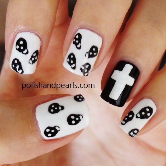 Skulls Black White Cross Gorgeous Nails Pinterest Pattern