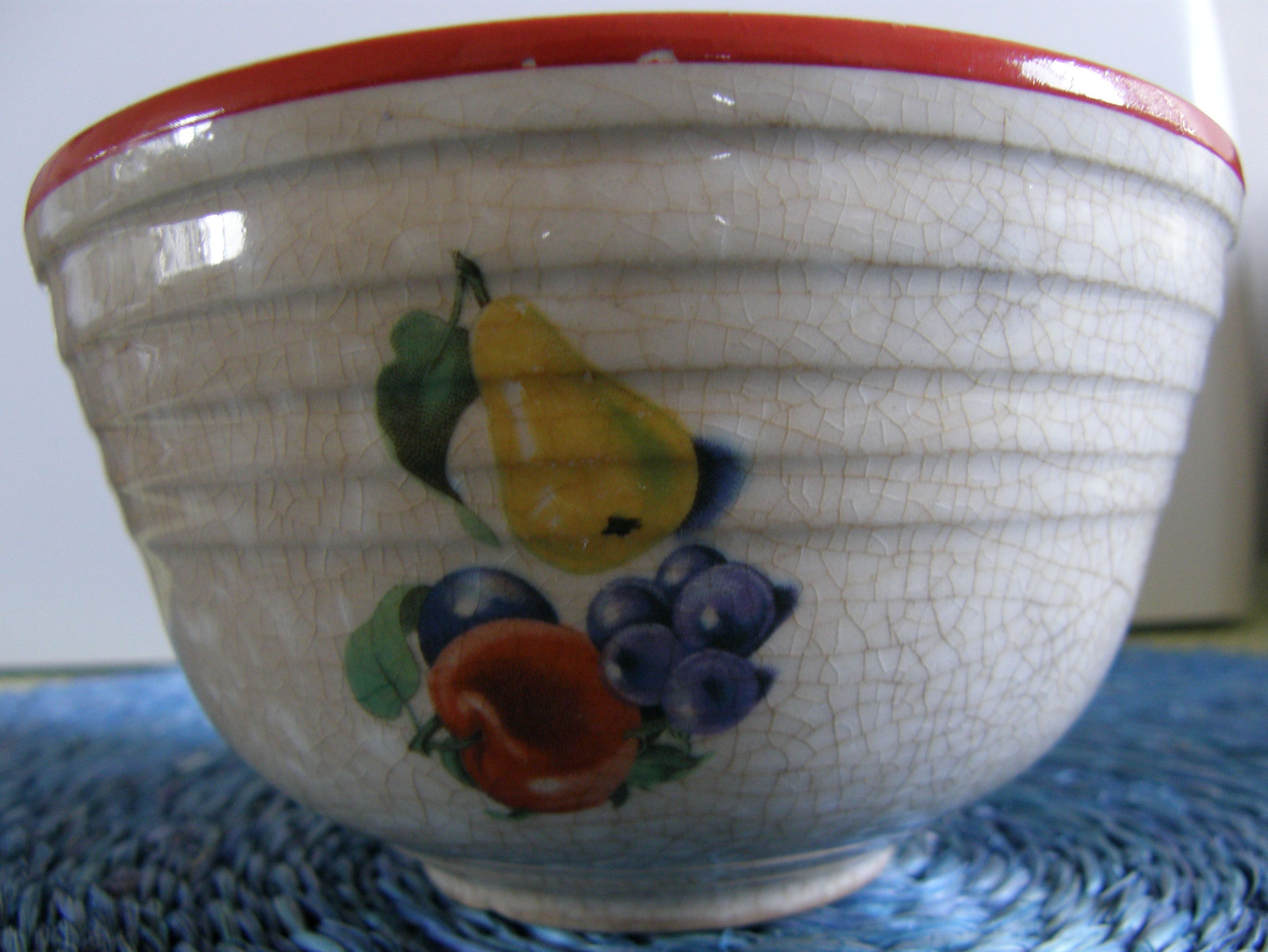 Vintage Bake Oven Kitchen Pottery Mixing Bowl With Fruit