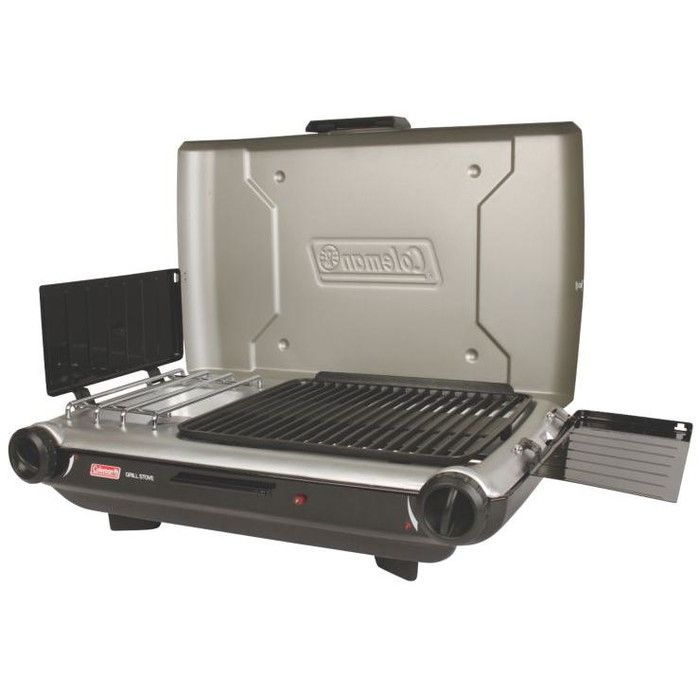 Portable 2 Burner Propane Gas And Charcoal Grill Propane Grill Camping Grill Gas And Charcoal Grill