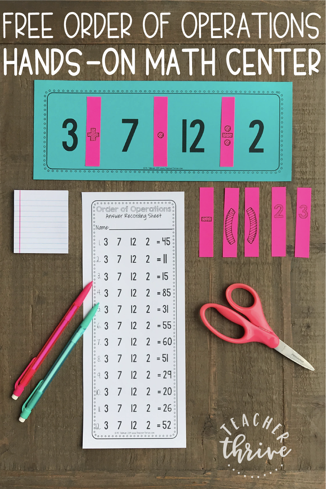 Free Order Of Operations Math Center