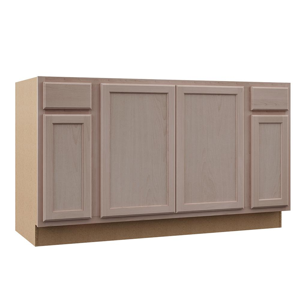 Hampton Bay Hampton Assembled 60x34 5x24 In Sink Base Kitchen Cabinet In Unfinished Beech Ksbf60 Uf The Home Depot Unfinished Kitchen Cabinets Kitchen Cabinets Home Depot Home Depot Kitchen