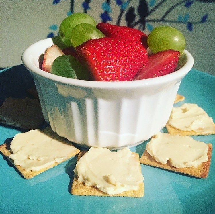 This 4 SmartPoint treat is sweet and salty, but also healthy and filling. I used eight reduced fat Wheat Thins (2SP), one Laughing Cow pepper jack cheese wedge (1SP), 2oz turkey deli meat (1SP — not pictured), and a small cup of grapes and strawberries.