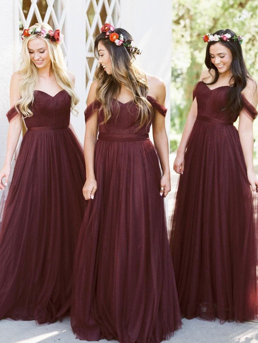 441afdc1bf08 Off the Shoulder Tulle Blush Pink Bridesmaid Dresses Maroon ...