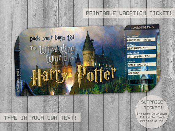 Harry Potter Surprise Trip Ticket Editable File Boarding Pass Vacation Tickets Envelope Gift Ti Harry Potter World Tickets Harry Potter Ticket Harry Potter