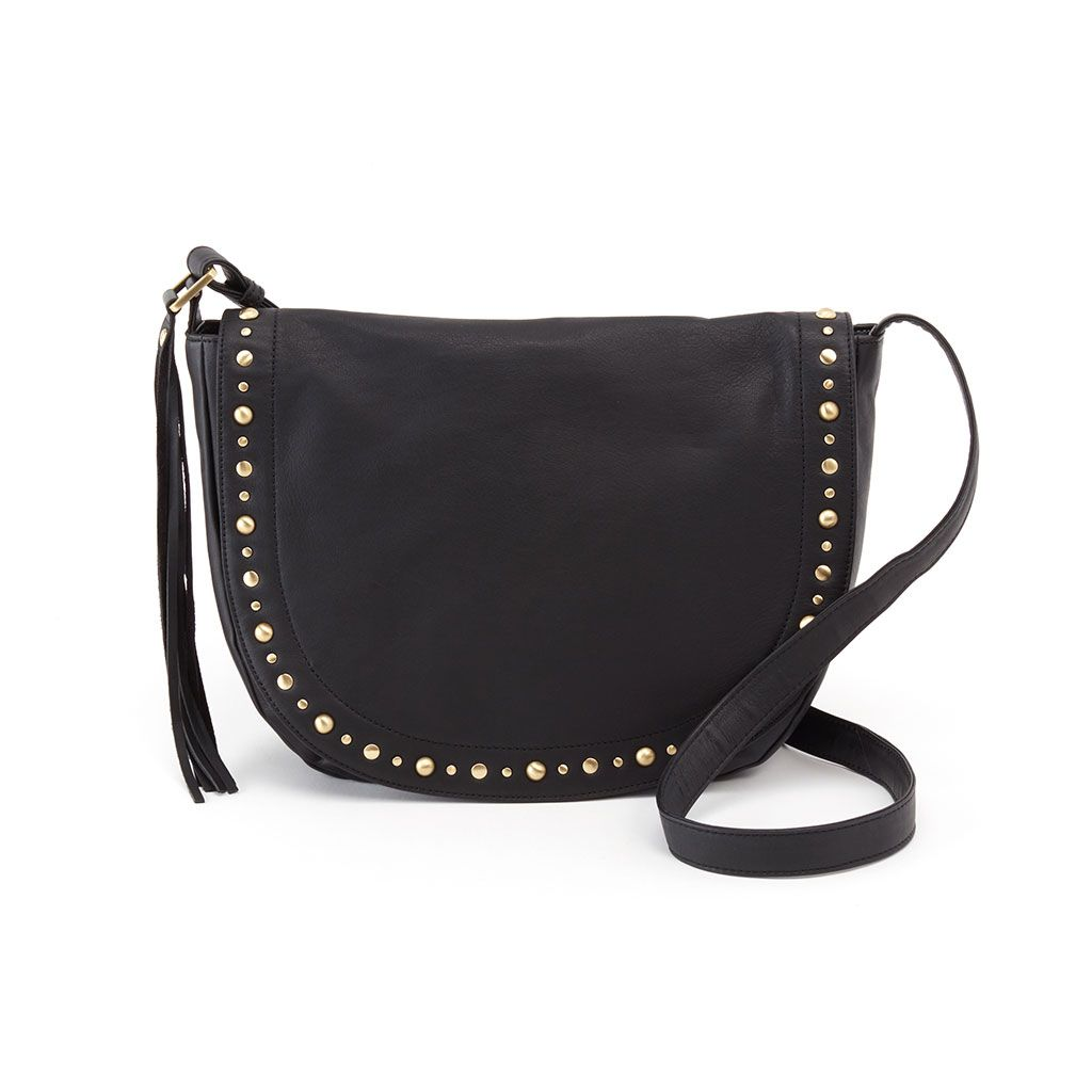 Maverick Black Leather Studded Crossbody Bag Hobo Bags