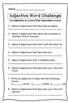 Adjectives Worksheet 2: Underline the Adjectives | TLSBooks