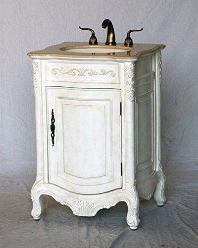 24 Inch Antique White Wood Single Sink Bathroom Vanity With Ivory Beige Cream Marble Stone Top And Oval Bone Color Sink Amaz Muebles De Baño Muebles Baños