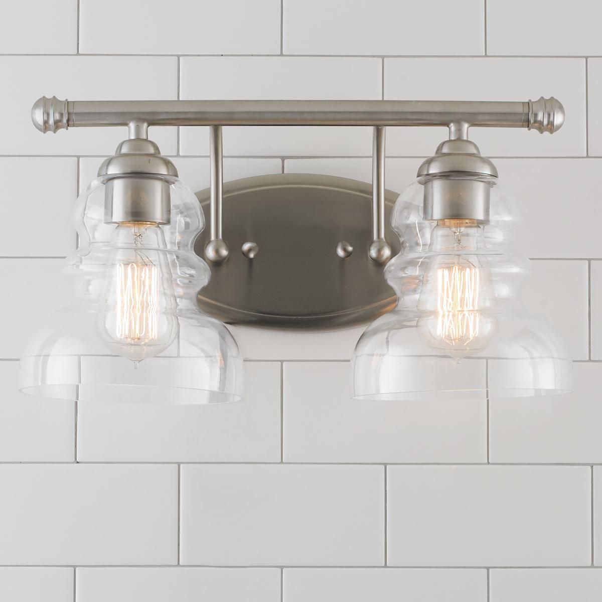Modern Ridged Shade Vanity Light 2 Light Vanity Lighting Vanity Light Bar Bathroom Light Fixtures