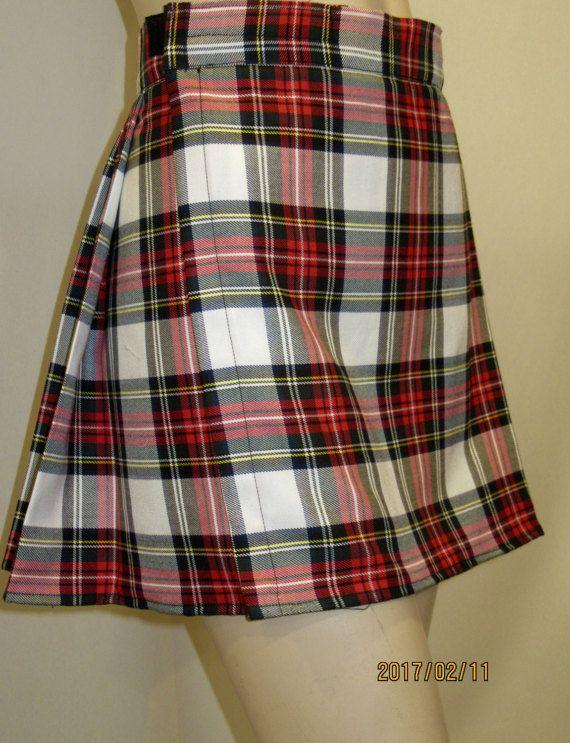 62651f973f Dress Stewart Mini Kilt~Ladies Mini Kilt Dress Stewart Plaid Kilt~ Red  White Plaid Mini Kilt~Highland Games Kilt Custom make @sohoskirts