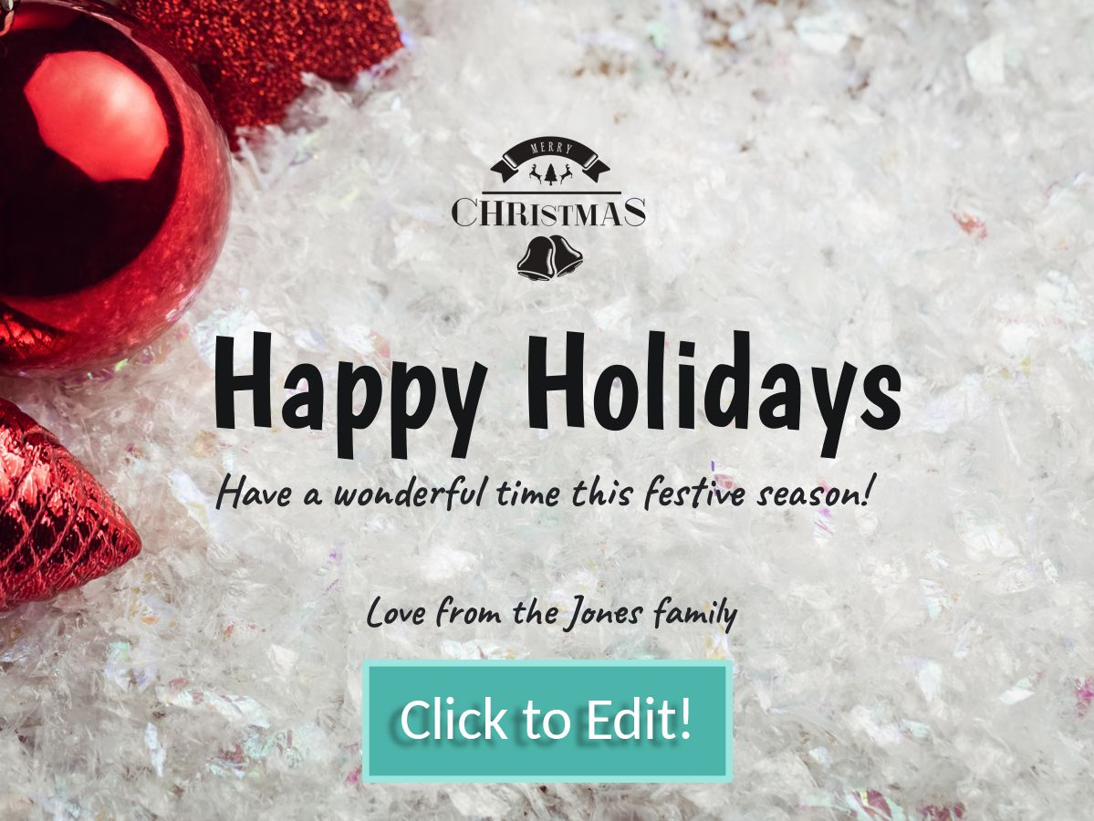 Editable Christmas Card Template For A Facebook Post With A