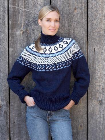 Fair Isle Yoke Pullover | Yarn | Free Knitting Patterns | Crochet ...
