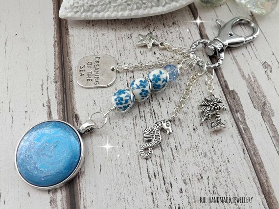 Bag Charm Keychain Holiday Blue Bag Charm by KHLHandmadeJewellery