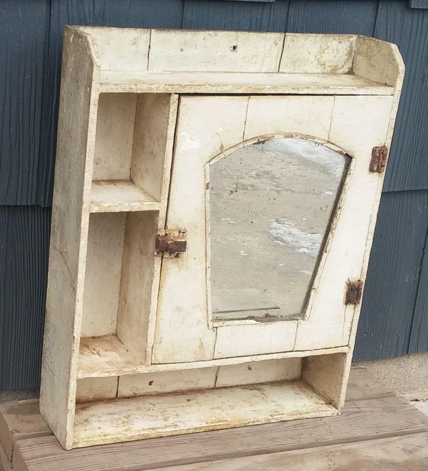 Antique Primitive Vtg Shabby White Farmhouse Medicine
