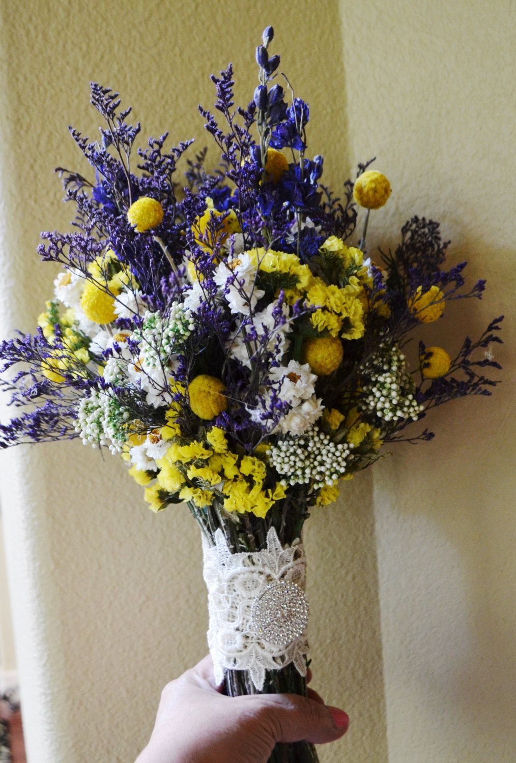 Beautiful Dried Wedding Bouquet of Purple Larkspur and caspia Yellow Craspedia and Statice Ammobium   - For Wedding  - Made to Order by ArtistryinFlorals on Etsy https://www.etsy.com/listing/208999017/beautiful-dried-wedding-bouquet-of
