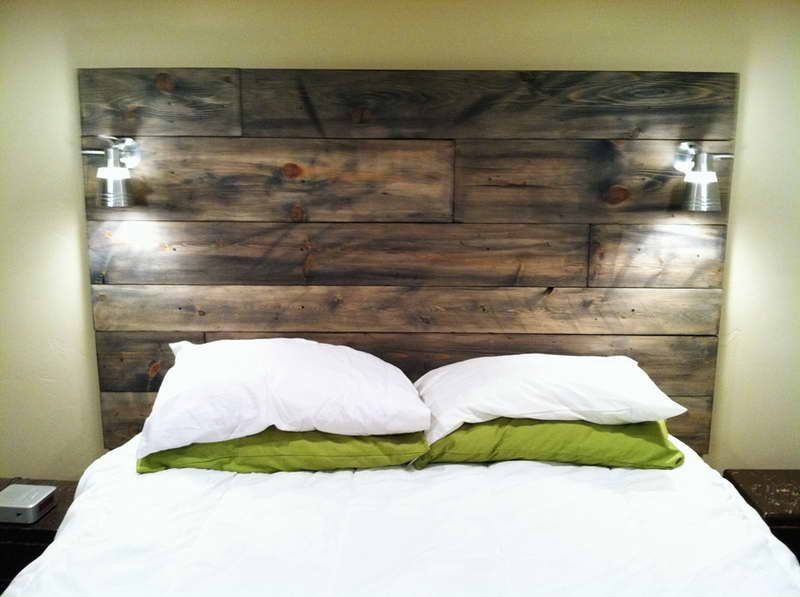 A great idea for stained timber headboard - we can make similar out of Australian timber flooring & A great idea for stained timber headboard - we can make similar out ...