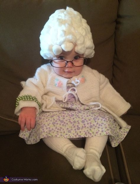 Megan 6 month old Brooke. Her wig is cotton balls glued on an old hat; I popped the lenses out of an old pair of my glasses; the sweater was crocheted.  sc 1 st  Pinterest & Granny B - Halloween Costume Contest at Costume-Works.com ...