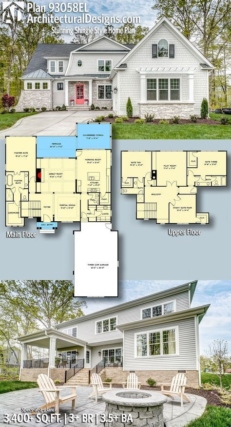 Plan 93058el Stunning Shingle Style Home Plan Shingle Style Homes House Plans Architectural Design House Plans